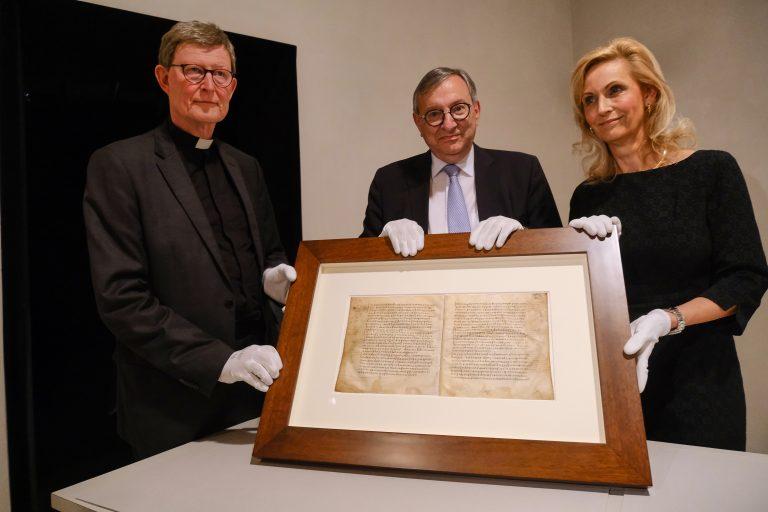 Dekret Kaiser Konstantins in Köln zu sehen: erster urkundlicher Beleg für jüdisches Leben in Deutschland